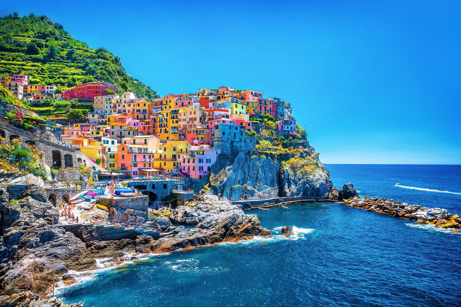 Beautiful colorful cityscape on the mountains over Mediterranean sea, Europe, Cinque Terre, traditio