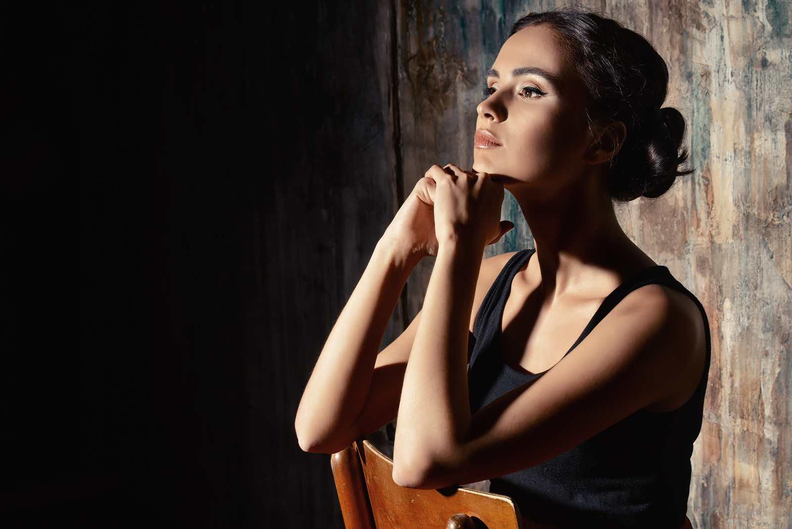 Close-up portrait of a beautiful elegant young woman. Art portrait.
