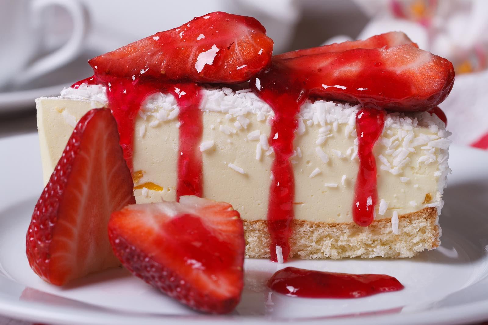 Dessert Cheesecake With Fresh Strawberries Closeup. Horizontal