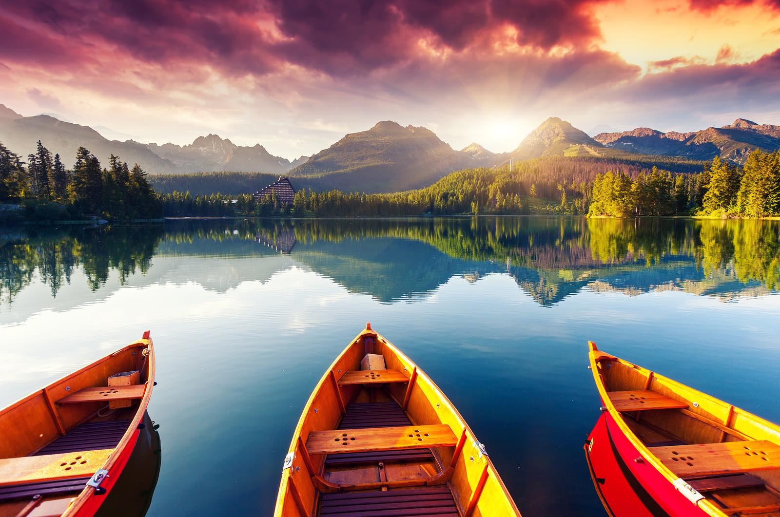 Mountain lake In National Park, Slovakia, Europe.