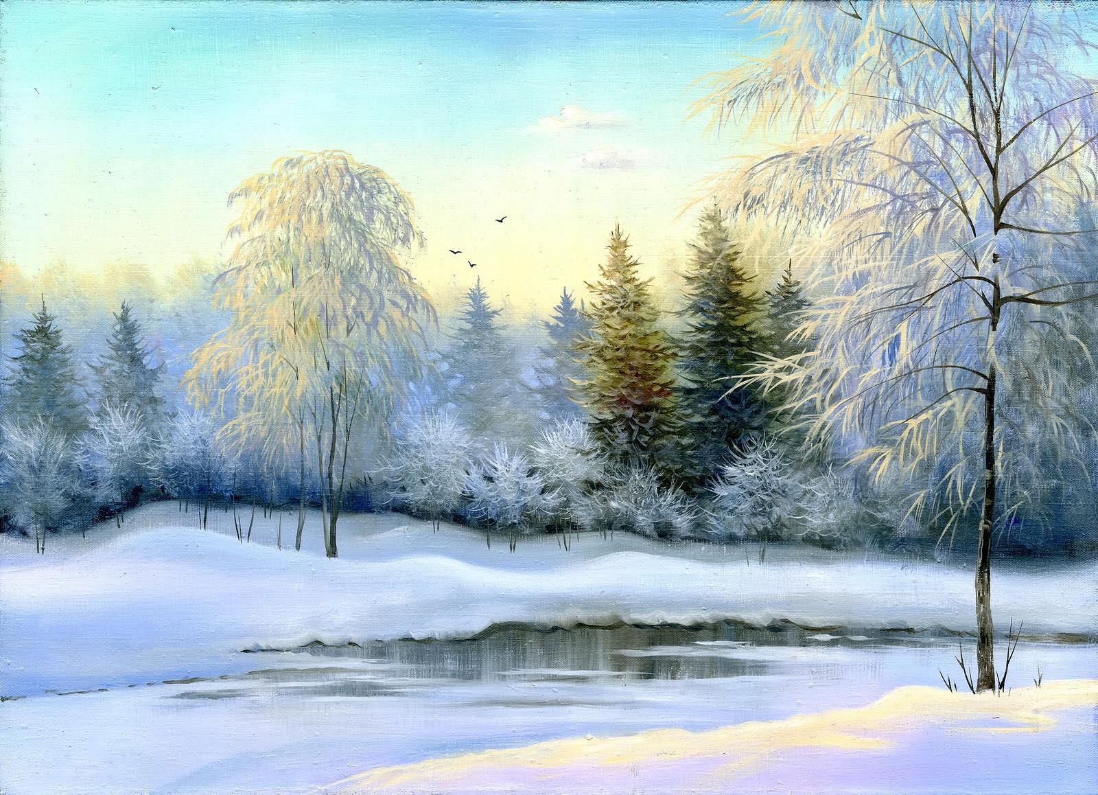 Not frozen lake in winter wood
