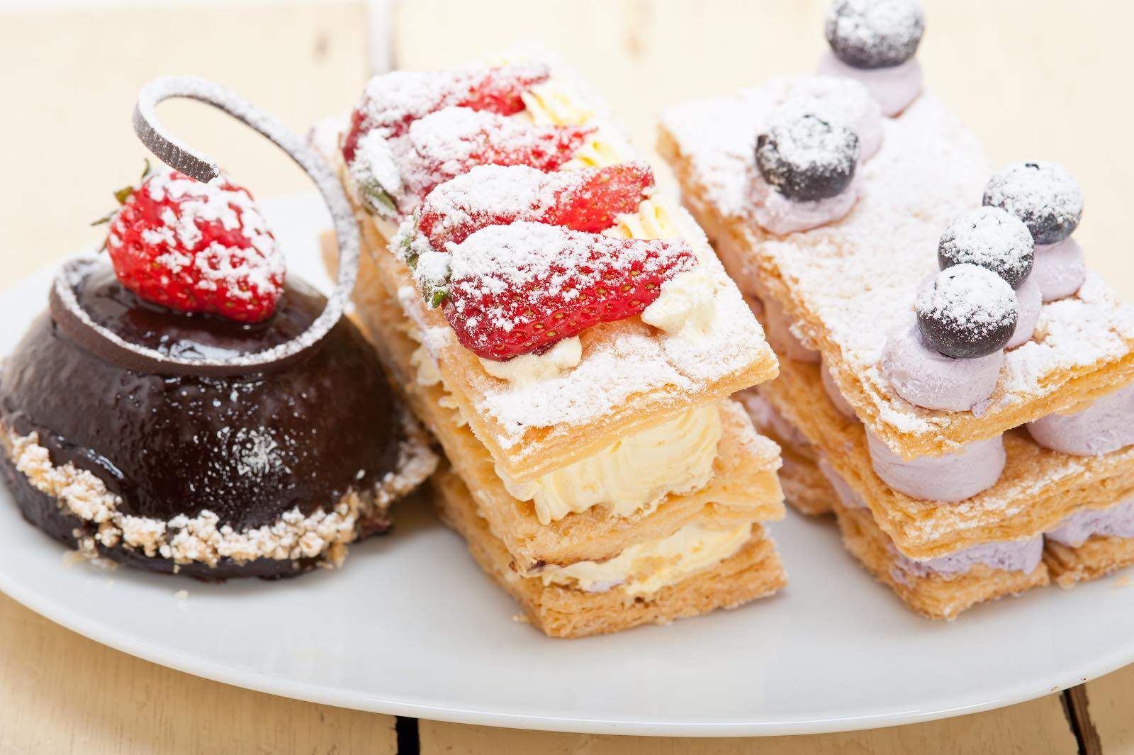 Selection Of Fresh Cream Cake Dessert Plate