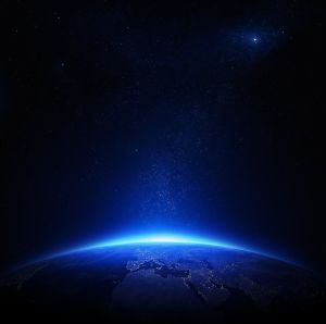 Earth at night with city lights (Elements of this image furnished by NASA)