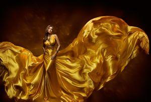 Fashion Model Woman Dress, Lady In Fluttering Silk Beauty Gown, Beautiful Fabric Waving On Wind