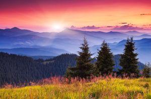 Majestic morning mountain landscape with colorful cloud. Dramatic sky. Carpathian, Ukraine, Europe.