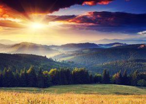 Majestic sunset in the mountains landscape. Dramatic sky. Carpathian, Ukraine, Europe.