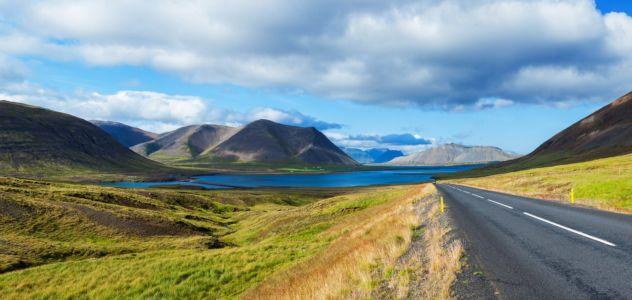 Road to sea lagoon. Iceland
