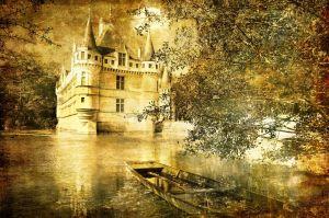 romantic castle - artistic toned picture in retro style