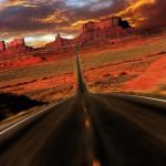 Speeding Sunset Fantasy Image of Monument Valley