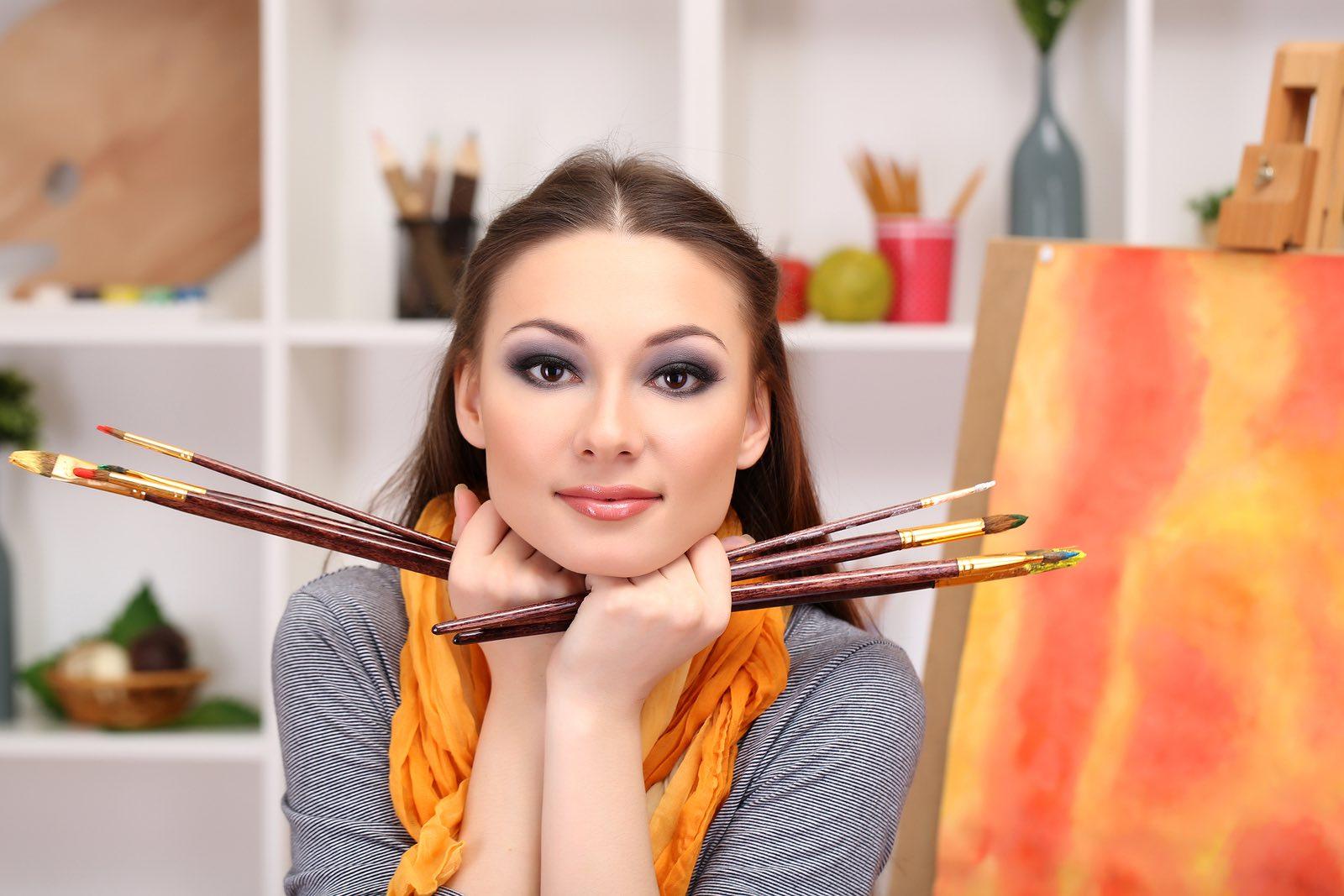 Beautiful Woman Painter
