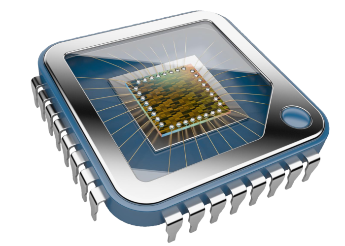 Blue Computer Chip - No Background PNG not compessed